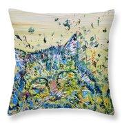 Cat In The Grass Throw Pillow