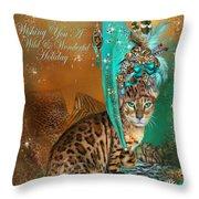 Cat In The Leopard Trim Santa Hat Throw Pillow