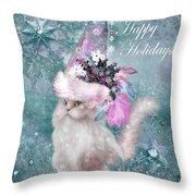 Cat In The Snowflake Santa Hat Throw Pillow