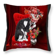 Cat In The Valentine Steam Punk Hat Throw Pillow