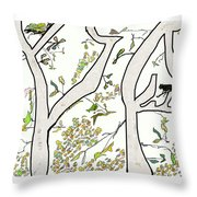 Cat In Tree White Background Throw Pillow