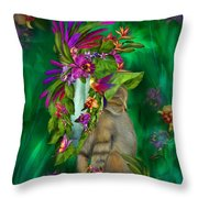 Cat In Tropical Dreams Hat Throw Pillow