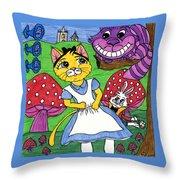 Cat In Wonderland Throw Pillow