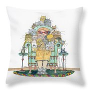 Cat Lady - In Chair Throw Pillow by Mag Pringle Gire