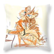 Cat Little Tiger Kitty Throw Pillow by Go Van Kampen