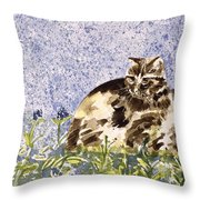 Cat Mint Wc On Paper Throw Pillow