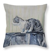 Cat On A Stone Wall Throw Pillow
