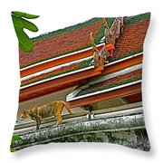 Cat On A Wat Po Roof In Bangkok-thailand Throw Pillow