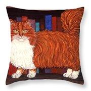 Cat On Book Shelf Throw Pillow