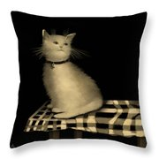 Cat On Checkered Tablecloth   No. 1 Throw Pillow