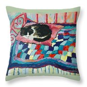 Cat On Pink  Throw Pillow