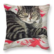 Cat On Quilt  Throw Pillow