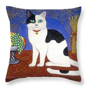 Cat On Thanksgiving Table Throw Pillow