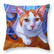 Cat Out Of The Bag Throw Pillow