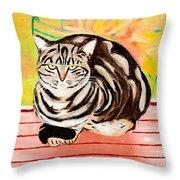 Cat Relaxing Throw Pillow