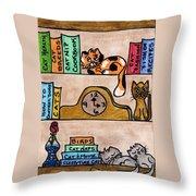 Cat Shelves Throw Pillow