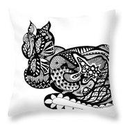 Cat With Design Throw Pillow