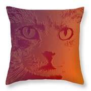 Cat With Intense Stare Abstract  Throw Pillow