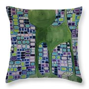 cat with lime wheel II Throw Pillow