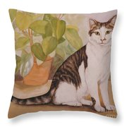Cat With Plant Throw Pillow