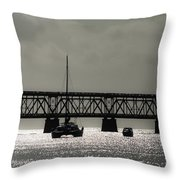 Catamaran Anchored At Old Bahia Honda Bridge Throw Pillow