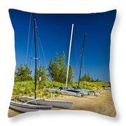 Catamaran Sailboats On The Beach At Muskegon No. 601 Throw Pillow