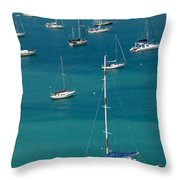 Catamaran  St Thomas Usvi Throw Pillow by Amy Cicconi