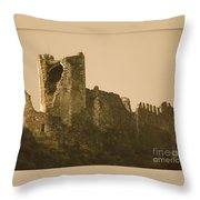 Catapult At Lastours  Throw Pillow