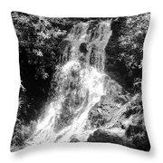 Cataract Falls Smoky Mountains Bw Throw Pillow