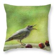 Catbird Eating Cherries Throw Pillow