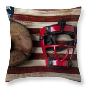 Catchers Glove On American Flag Throw Pillow