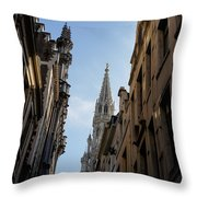 Catching A Glimpse Of Grand Place Brussels Belgium Throw Pillow