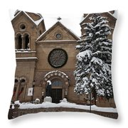 Cathedral Basilica Of St Francis In Snow Throw Pillow