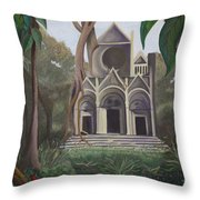 Cathedral In A Jungle Throw Pillow