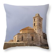 Cathedral In Ibiza Town Throw Pillow