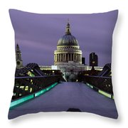 Cathedral Lit Up At Night, St. Pauls Throw Pillow