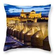 Cathedral Mosque And Roman Bridge In Cordoba Throw Pillow