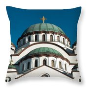 Cathedral Of Saint Sava In Belgrade Serbia Throw Pillow