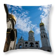 Cathedral Of The Dormition And Ivan The Great Belfry Of Moscow Kremlin Throw Pillow