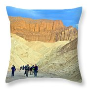 Cathedral Peaks From Golden Canyon In Death Valley National Park-california Throw Pillow
