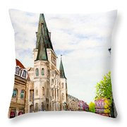 Cathedral Plaza - Jackson Square, French Quarter Throw Pillow