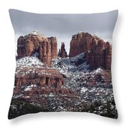Cathedral Rock In Winter Arizona Throw Pillow