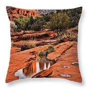 Cathedral Rock In Winter Throw Pillow