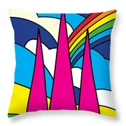 Cathedral Spires Stained Glass Lichfield Throw Pillow
