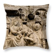 Cathedral Wall Nativity Sculpture Throw Pillow