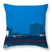 Catherine Desgagnes Downbound At Port Huron Throw Pillow