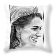 Catherine - Duchess Of Cambridge In 2011 Throw Pillow by J McCombie