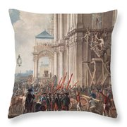 Catherine II On The Balcony Of The Winter Palace, Greeted By Guards And People On The Day Throw Pillow
