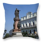 Catherine The Great Statue Odessa Throw Pillow
