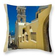 Catholic Cathedral Santorini Throw Pillow